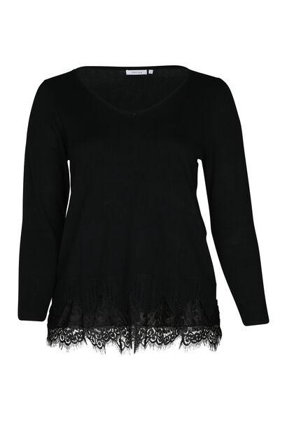 Pullover mit Spitzeneinsatz - Schwarz