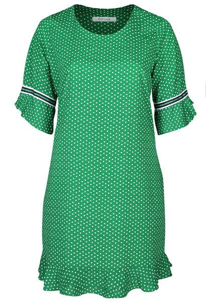 Kleid aus Kreppstoff mit Tupfendruck - Grün