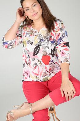 T-Shirt aus Leinen mit Blattmuster-Print, Koralle