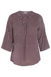 Bluse mit geometrischem Print und Strass