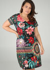 Kleid mit Blumen-Print und Strass-Details, Multicolor