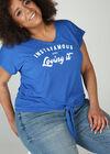 Jersey-T-Shirt mit Aufdruck, Blau Bic