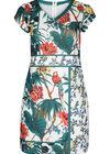 Kleid mit Tropen- und Papageien-Aufdruck, weiß