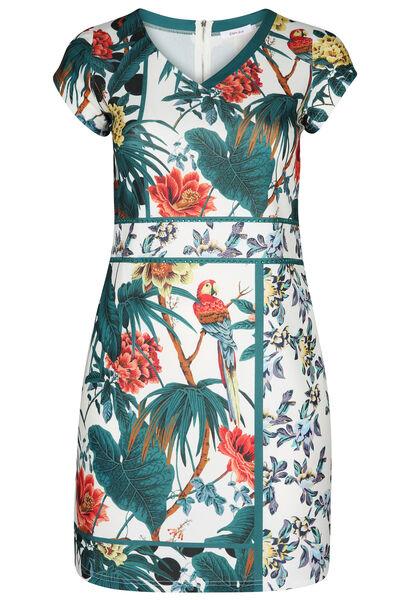 Kleid mit Tropen- und Papageien-Aufdruck - weiß