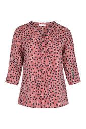 Bluse mit Tupfen- und Streifen-Print