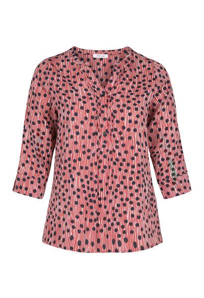 Bluse mit Tupfen- und Streifen-Print - Bordeaux