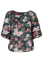 Bluse mit elastischem Ausschnitt und Blumen-Print