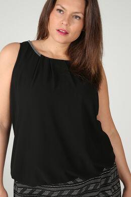 Ärmellose Bluse mit Perlen am Ausschnitt, Schwarz