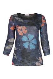 Tunika-Pullover mit Blumenaufdruck