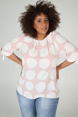 Mit großen Tupfen bedruckte Bluse aus Voile, Rosa