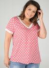 Kurzärmelige Bluse mit geometrischem Druck, Rot