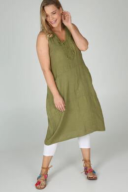 Mittellanges Leinenkleid, Olive
