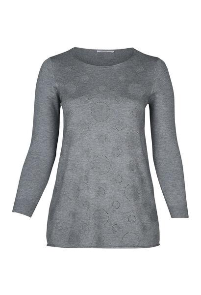 Pullover mit kreisförmigem Print und Strass - Grau