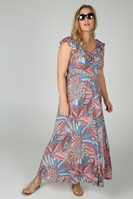 Langes Kleid mit Ethno-Print, Multicolor