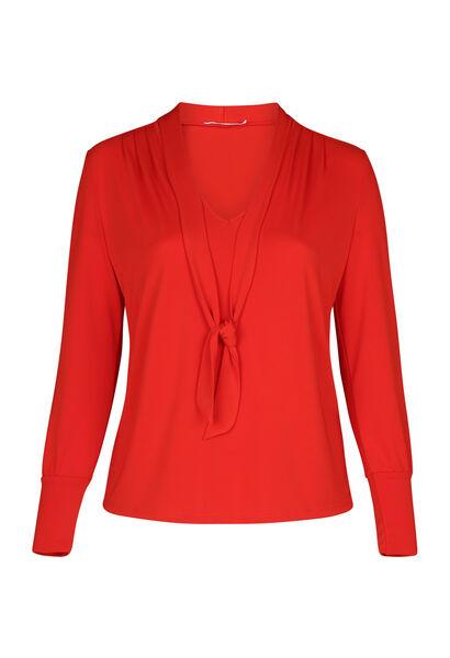 T-Shirt aus einfarbigem Jersey mit Krawattenkragen - Orange
