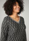 T-Shirt mit geometrischem Aufdruck und Lurex-Streifen, Schwarz