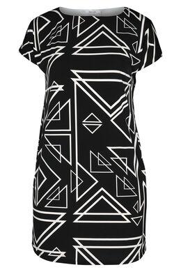 Bedrucktes Kleid aus kühlem Material, Schwarz