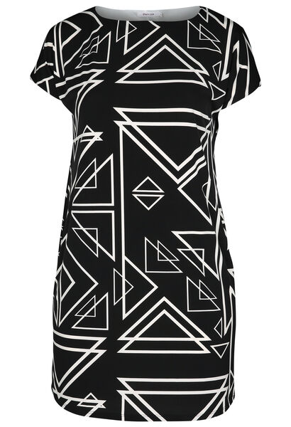 Bedrucktes Kleid aus kühlem Material - Schwarz