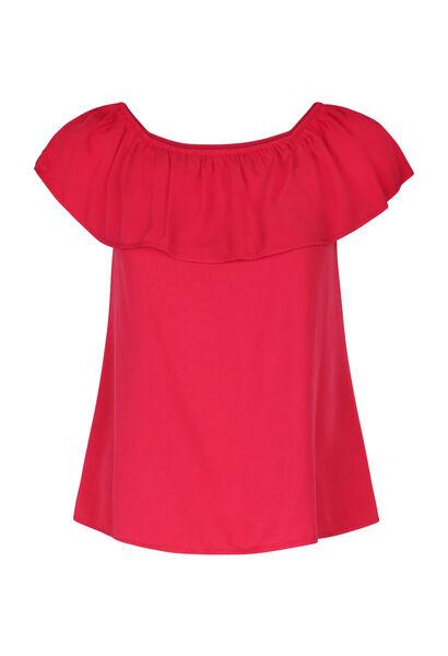 T-shirt mit elastischem Ausschnitt - Fuchsie