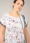 Mit Tupfen und Blumen bedrucktes T-Shirt mit Satin-Effekt, Rosa