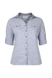 Bluse mit Streifen-Palmen-Print