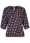 Bluse mit elastischen Abschlüssen und Fantasie-Print, Marine