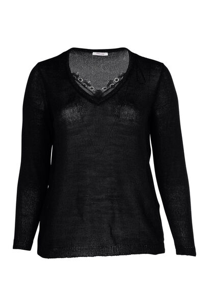 Pullover mit V-Ausschnitt und Spitze - Schwarz