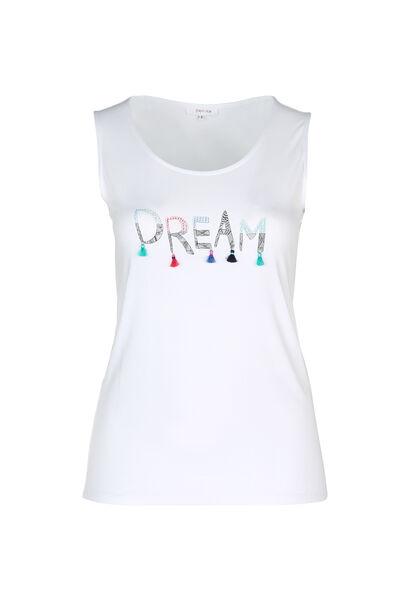 """T-Shirt mit Aufdruck """"Dream"""" und Quasten - weiß"""