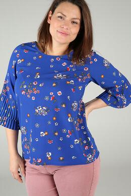Bluse mit Blumendruck, Blau Bic