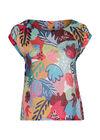 T-Shirt aus Leinen mit bunten Druck-Dessin, Multicolor