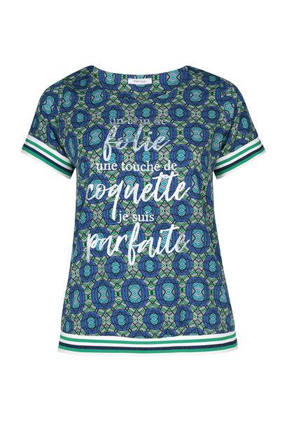 Wax-Print T-shirt mit Motto-Aufdruck - Grün