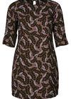 Kleid in entspannter Passform mit Retro-Blumen-Print, Khaki