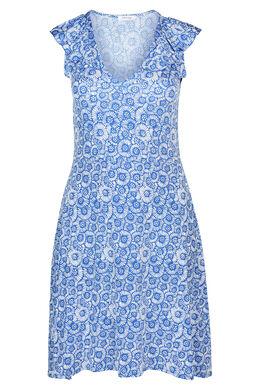Kleid aus kühlem Material mit Rubberprint im Blumenmuster, Blau Bic