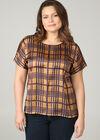 T-Shirt mit Satin-Effekt und Karo-Print, ocker