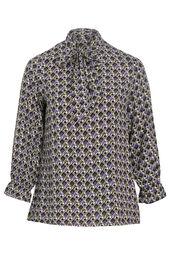 Bluse mit geometrischem Aufdruck und Schluppenkragen