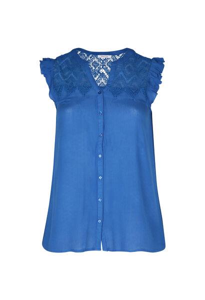 Bluse mit Makramee-Spitze - Blau Bic