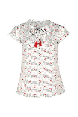 Mit Tupfen und Kirschen bedruckte Bluse, Rot