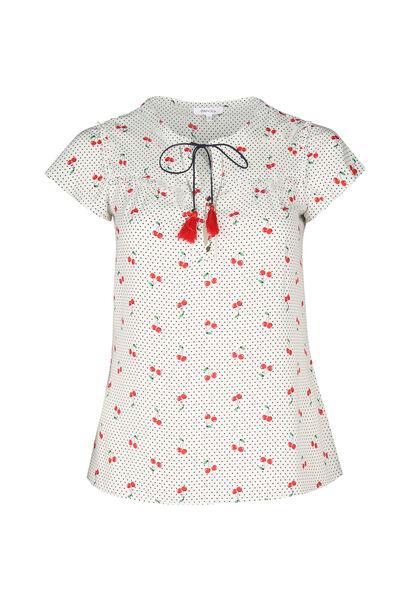 Mit Tupfen und Kirschen bedruckte Bluse - Rot