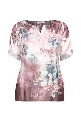 2-in-1-Bluse mit Blumendruck und Strass, Bordeaux