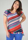 T-Shirt mit Streifenaufdruck, Multicolor