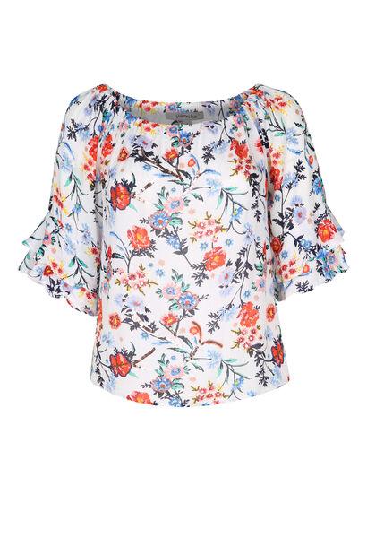Bluse mit elastischem Ausschnitt und Blumen-Print - Multicolor