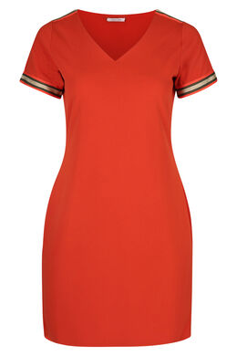 Kleid aus Krepp mit Lurex-Streifen, Orange