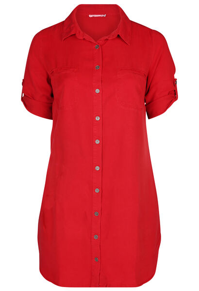 Lyocell-Kleid mit Hemdkragen - Rot