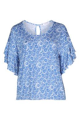 T-Shirt mit kleinen Rosetten im Relief-Druck, Blau Bic