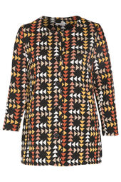 Long jacquard knit coat with triangles