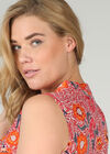 Geraffte Bluse mit floralen Motiven, Orange