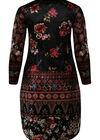 Velours-Kleid mit Blumendruck und Perlen, Schwarz