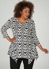 Tunika-T-Shirt mit geometrischen Rubberprint, Schwarz