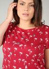 Baumwoll-T-Shirt mit Palmen-Print, Rot