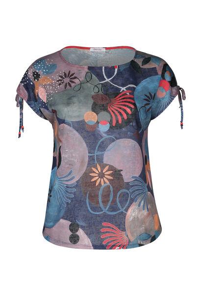 T-Shirt aus Leinen mit geometrischem Druck-Dessin - Multicolor